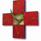 Križ (Asemblaž), akril in kolaž na lesu, 65x60x4 cm, 2011