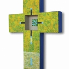 Križ, akril in kolaž na lesu, 40x30x4 cm, 2011