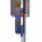 Posvečeno Cimabue-ju, kolaž/karton in akril na lesu, 55.5x21x9 cm, 2018